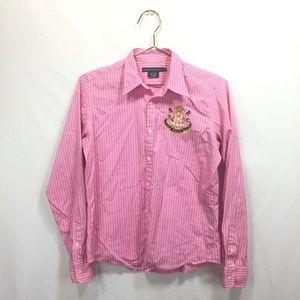 Ralph Lauren 6 Shirt Pink Stripped Button Down Lon
